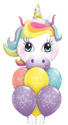 Picture of Balloon Bouquet -  Birthday Unicorn (7pc)