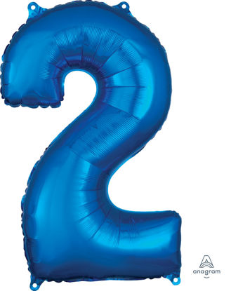 Picture of 26''Blue  Number 2 - Foil Balloon (helium-filled)