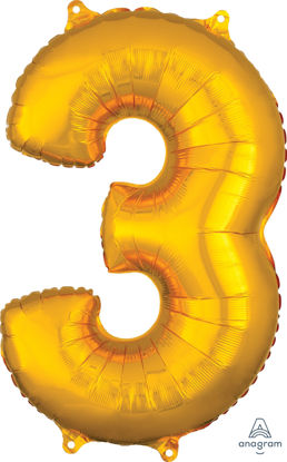 Picture of 26'' Gold Number 3 - Foil Balloon (helium-filled)