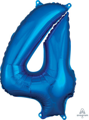Picture of 26''Blue  Number 4 - Foil Balloon (helium-filled)