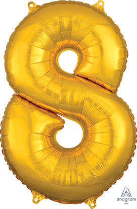 Picture of 26'' Gold Number 8 - Foil Balloon (helium-filled)