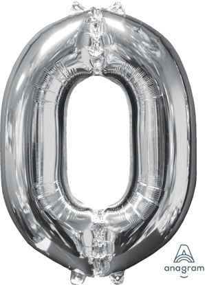 Picture of 26'' Silver Number 0 - Foil Balloon (helium-filled)