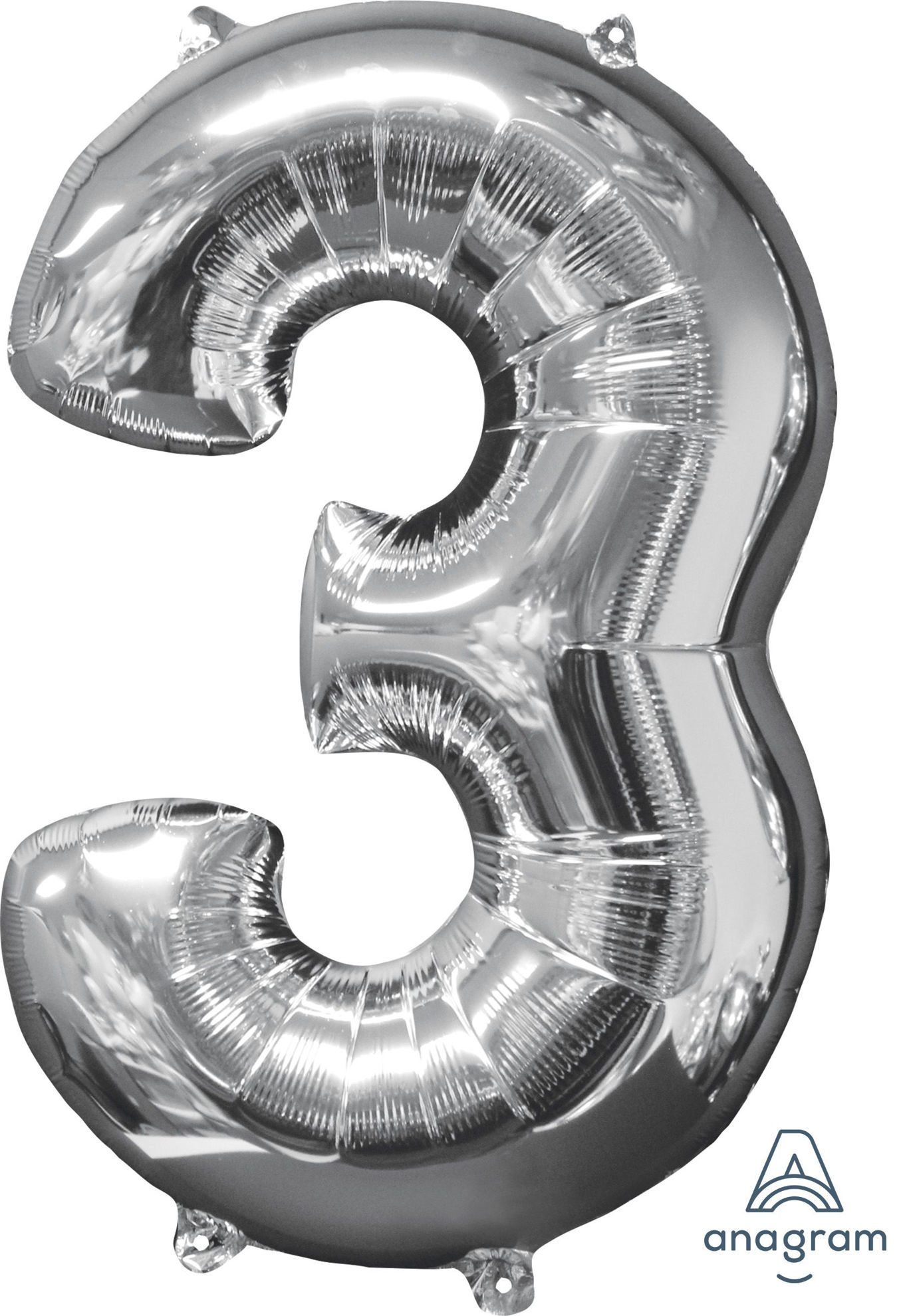 Picture of 26'' Silver Number 3 - Foil Balloon (helium-filled)
