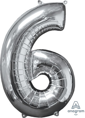 Picture of 26'' Silver Number 6 - Foil Balloon (helium-filled)