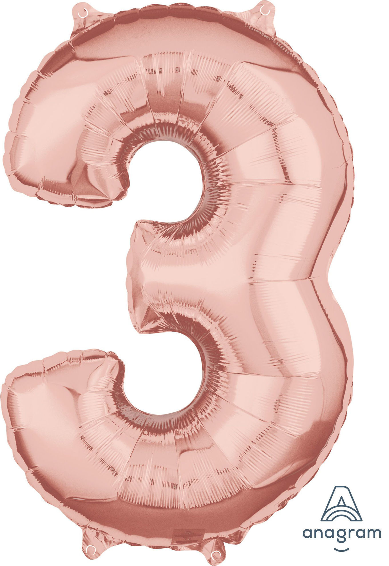 Picture of 26'' Rose Gold  Number 3 - Foil Balloon (helium-filled)