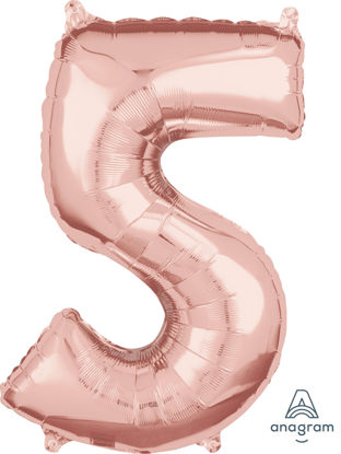 Picture of 26'' Rose Gold Number 5 - Foil Balloon (helium-filled)