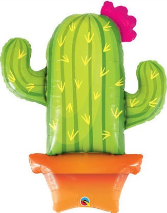 """Picture of 39"""" Potted Cactus Foil Balloon  (helium-filled)"""