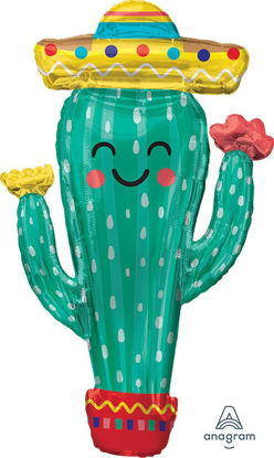 """Picture of 38""""  Fiesta Cactus Foil Balloon  (helium-filled)"""