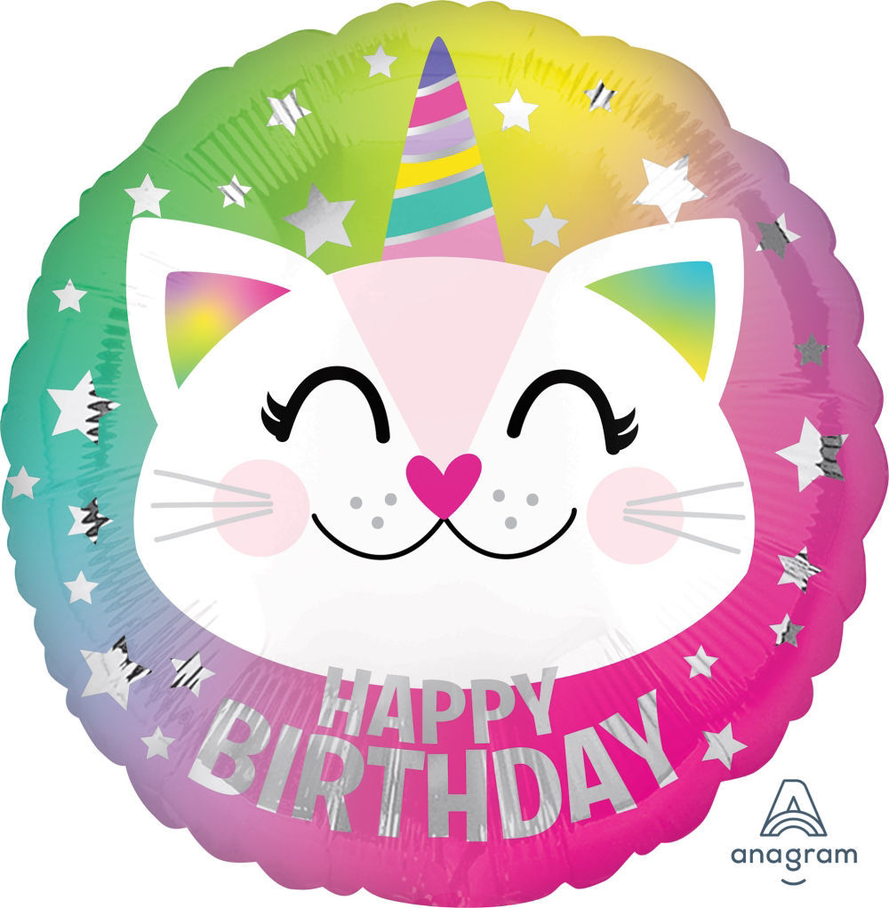 Picture of 17''Happy Birthday Caticorn Balloon (helium-filled)