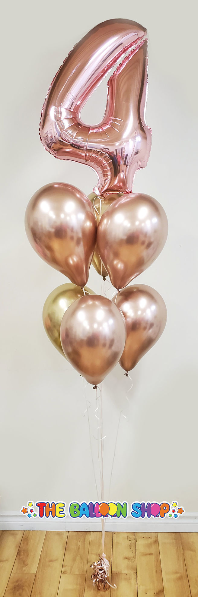 Picture of 26'' Rose Gold Number 4 - Foil Balloon (helium-filled)