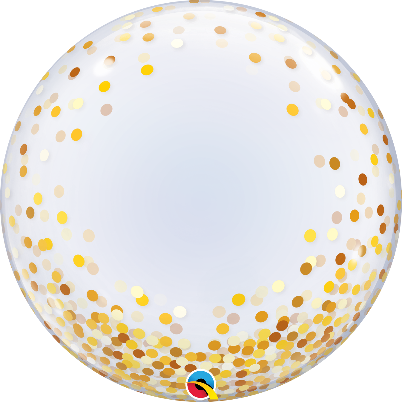 "Picture of 24"" Deco Bubble - Gold Confetti Dots  (helium-filled)"