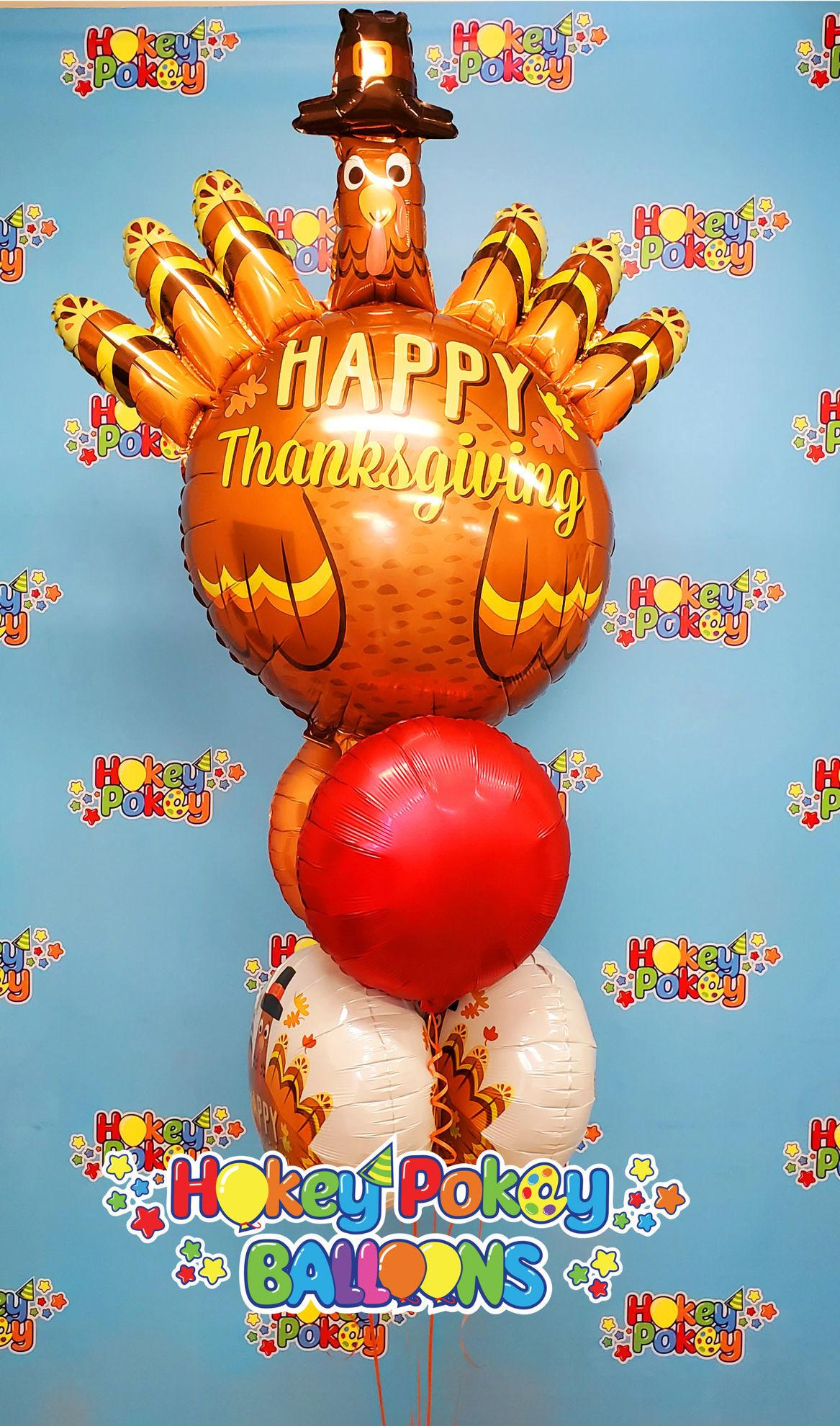 "Picture of 17"" Thanksgiving Pilgrim Turkey Foil Balloon  (helium-filled)"