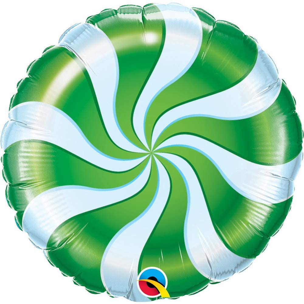 """Picture of 18"""" Round Green Candy Swirl Foil Balloon (helium-filled)"""