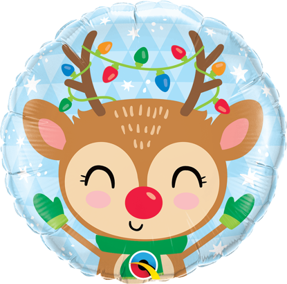 "Picture of 18"" Reindeer & Colored Lights  Foil Balloon (helium-filled)"