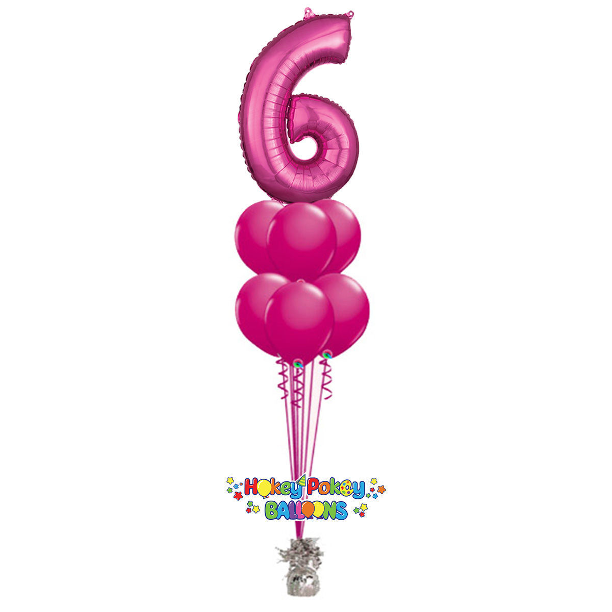Picture of 11 Inch Helium Balloon Bouquet of 6 with foil Number on top
