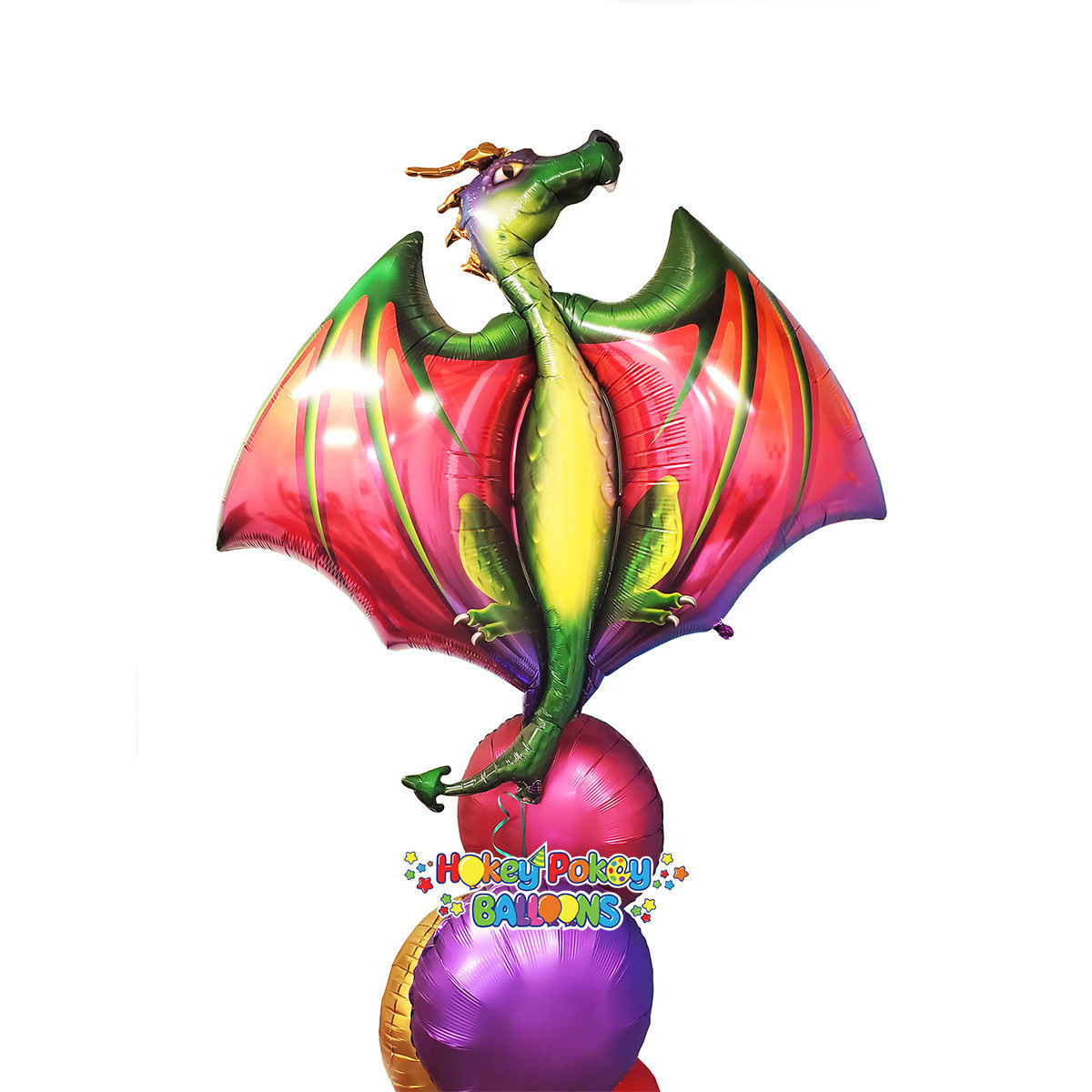 """Picture of 45"""" Mythical Dragon Foil Balloon Bouquet ( 7 pc )"""