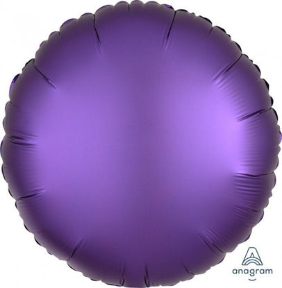 """Picture of 18"""" Satin Luxe Purple Royale Circle Foil Balloon  (helium-filled)"""