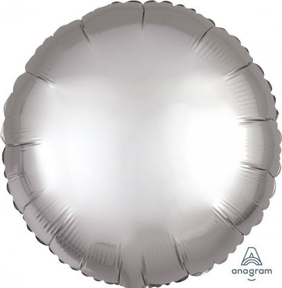 """Picture of 18"""" Satin Luxe Platinum Circle Foil Balloon (helium-filled)"""