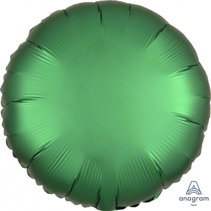 """Picture of 18"""" Satin Luxe Emerald Circle Foil Balloon (helium-filled)"""