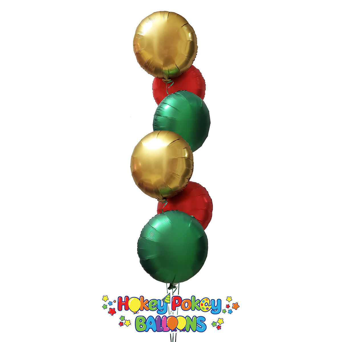 Picture of Festive Satin Luxe Circle Foil Balloon Bouquet ( 6 pc )