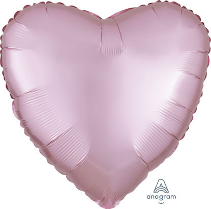 "Picture of 18"" Satin Luxe Pastel Pink Heart Foil Balloon (helium-filled)"