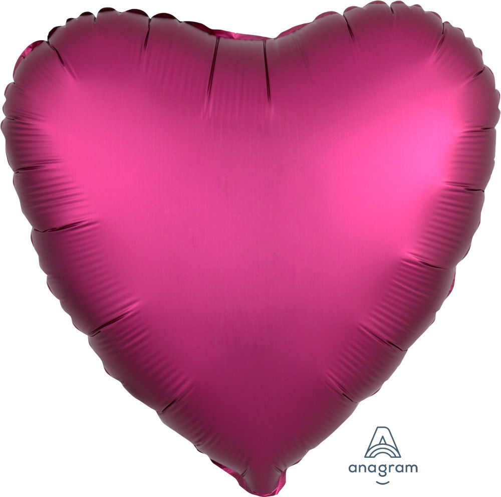 """Picture of 18"""" Satin Luxe Pomegranate Heart Foil Balloon (helium-filled)"""