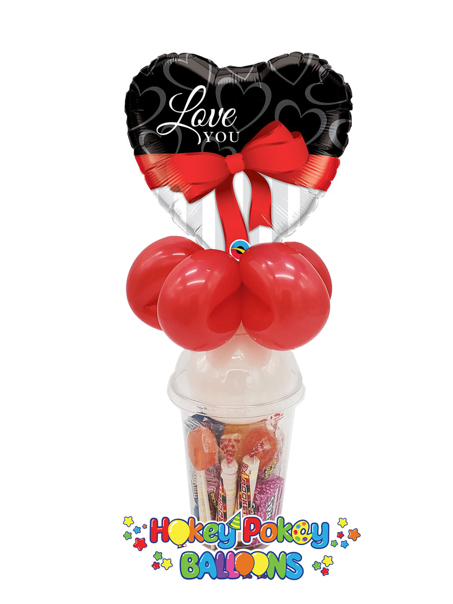 Picture of Love You Red Ribbon Heart  - Balloon Candy Cup