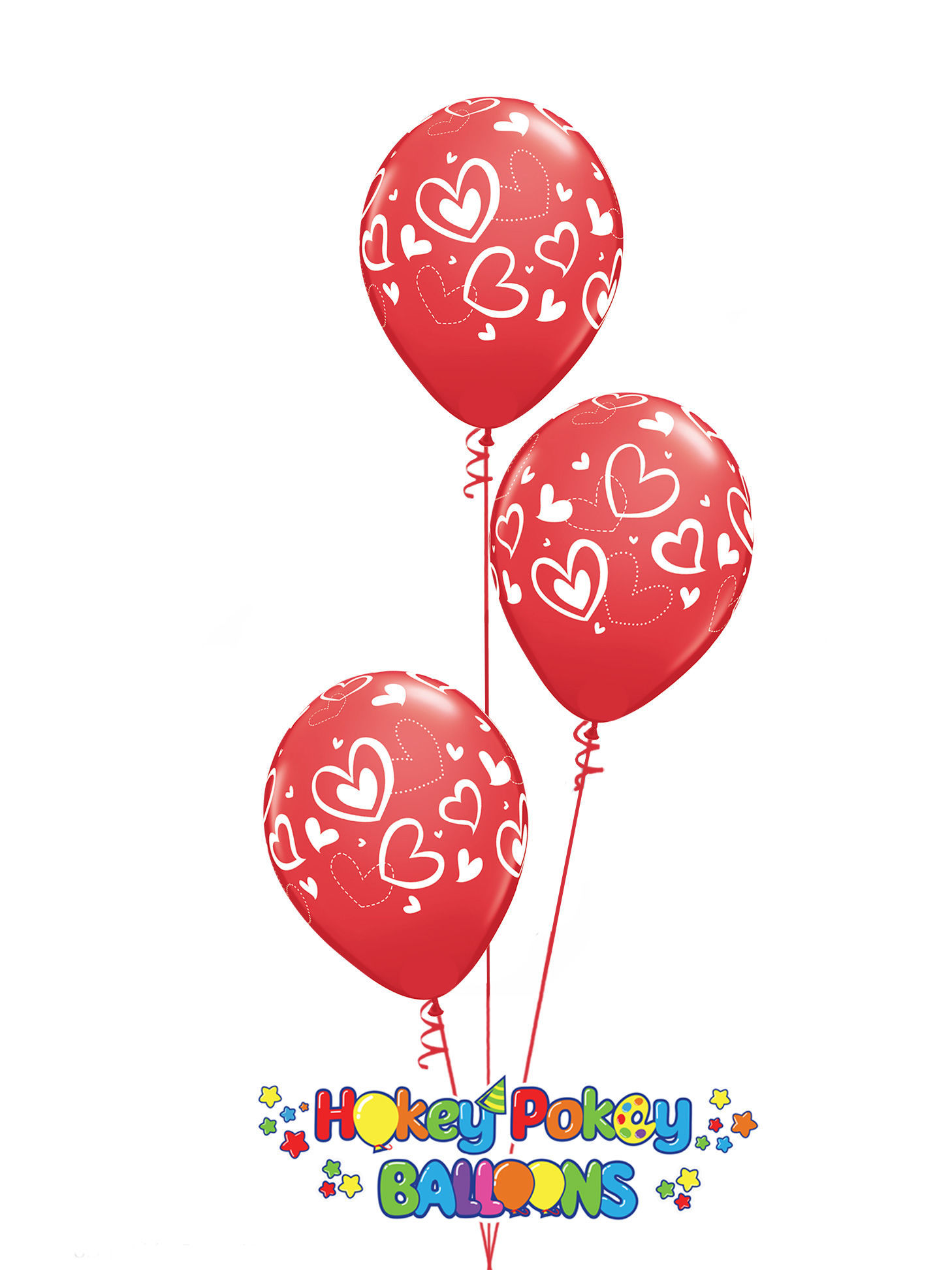 Picture of 11'' Mix & Match Red Hearts  -  Latex Balloon Bouquet (up to 25 balloons)