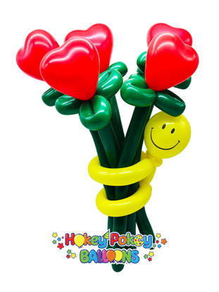 Picture of Heart Flower Balloon Bouquet with Smiley Guy (up to 21 flowers)