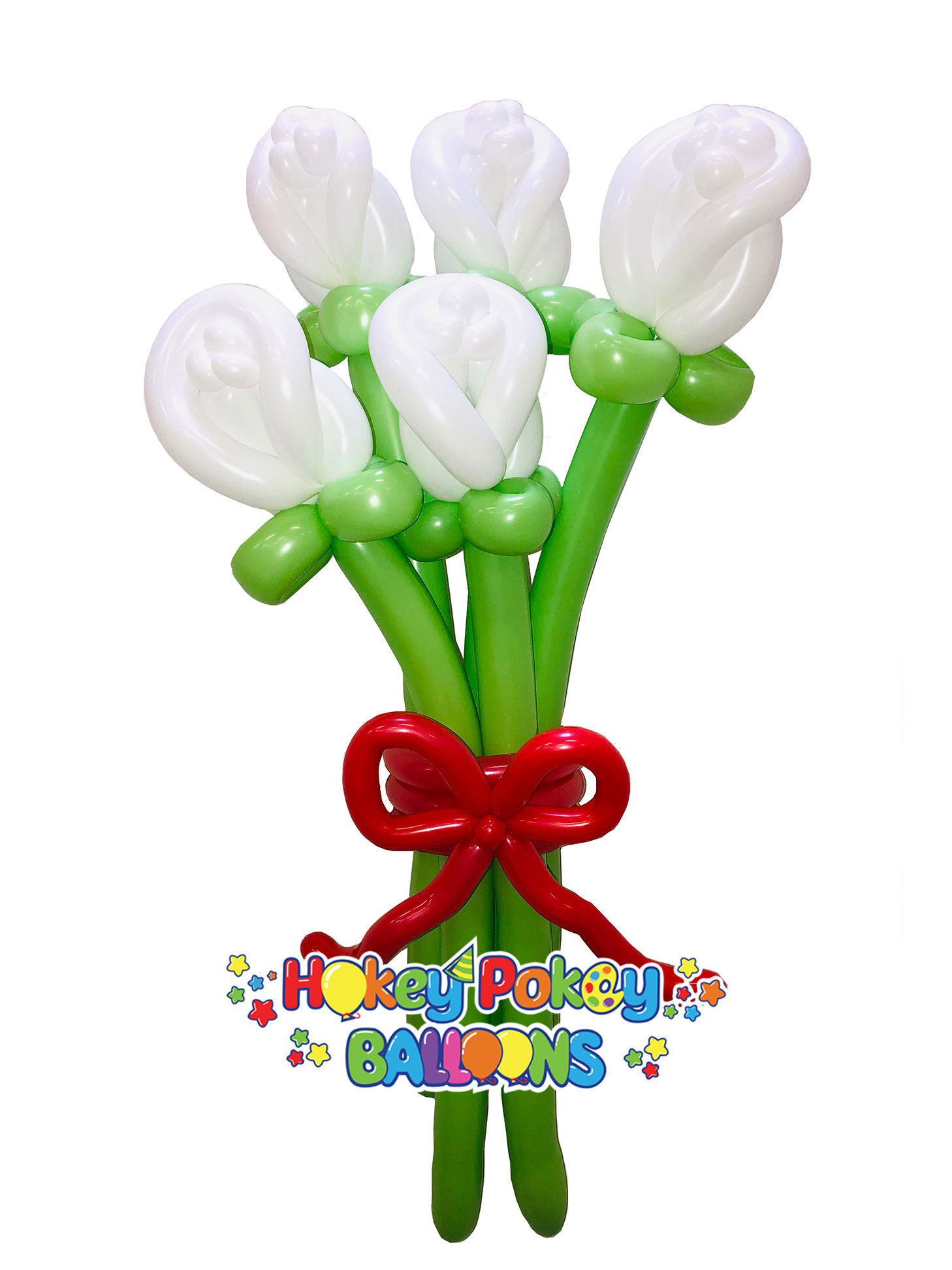Picture of Rose Buds Balloon Bouquet with Bow (up to 21 flowers)