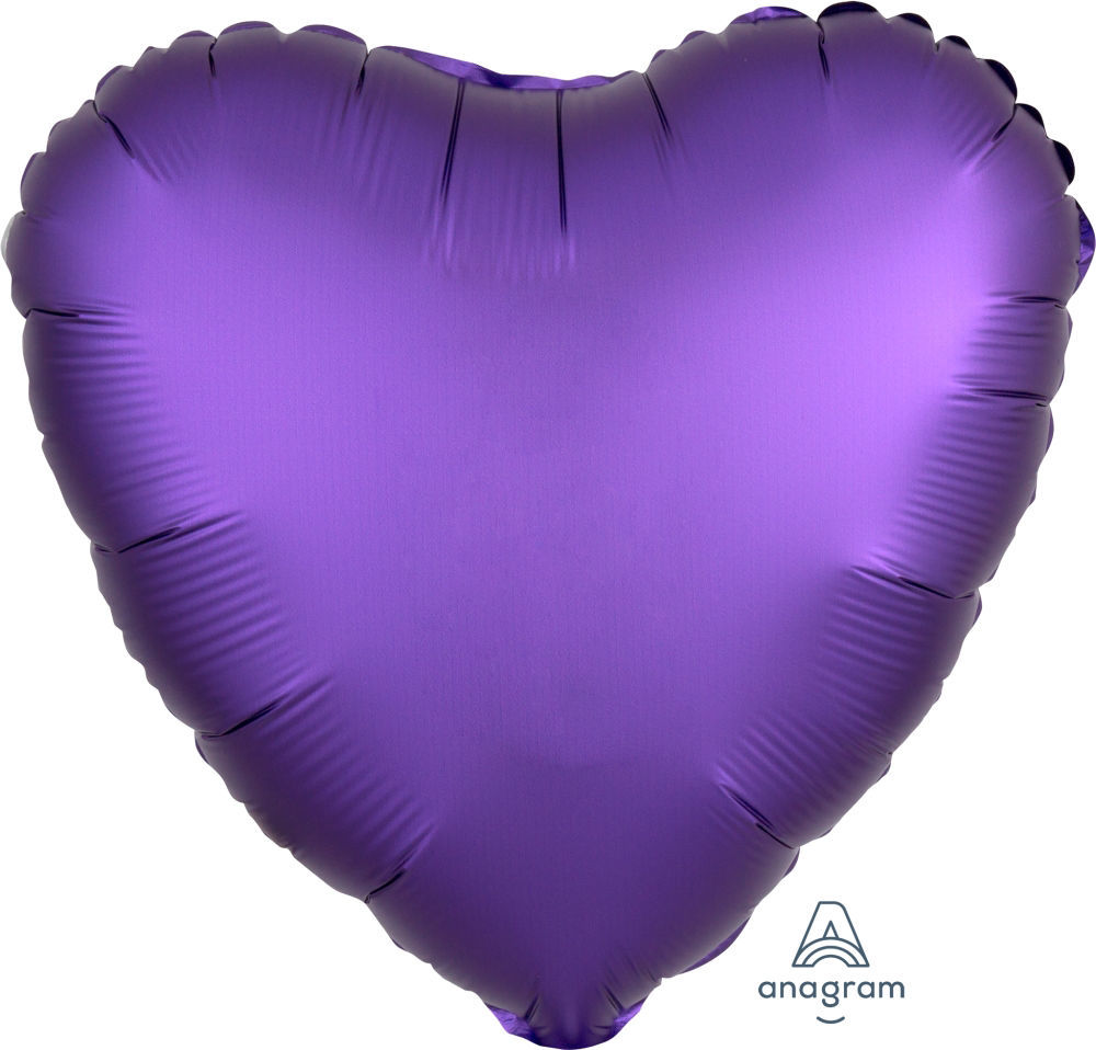 """Picture of 18"""" Satin Luxe Purple Royale Heart Foil Balloon (helium-filled)"""