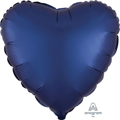 "Picture of 18"" Satin Luxe Navy Blue Heart Foil Balloon (helium-filled)"