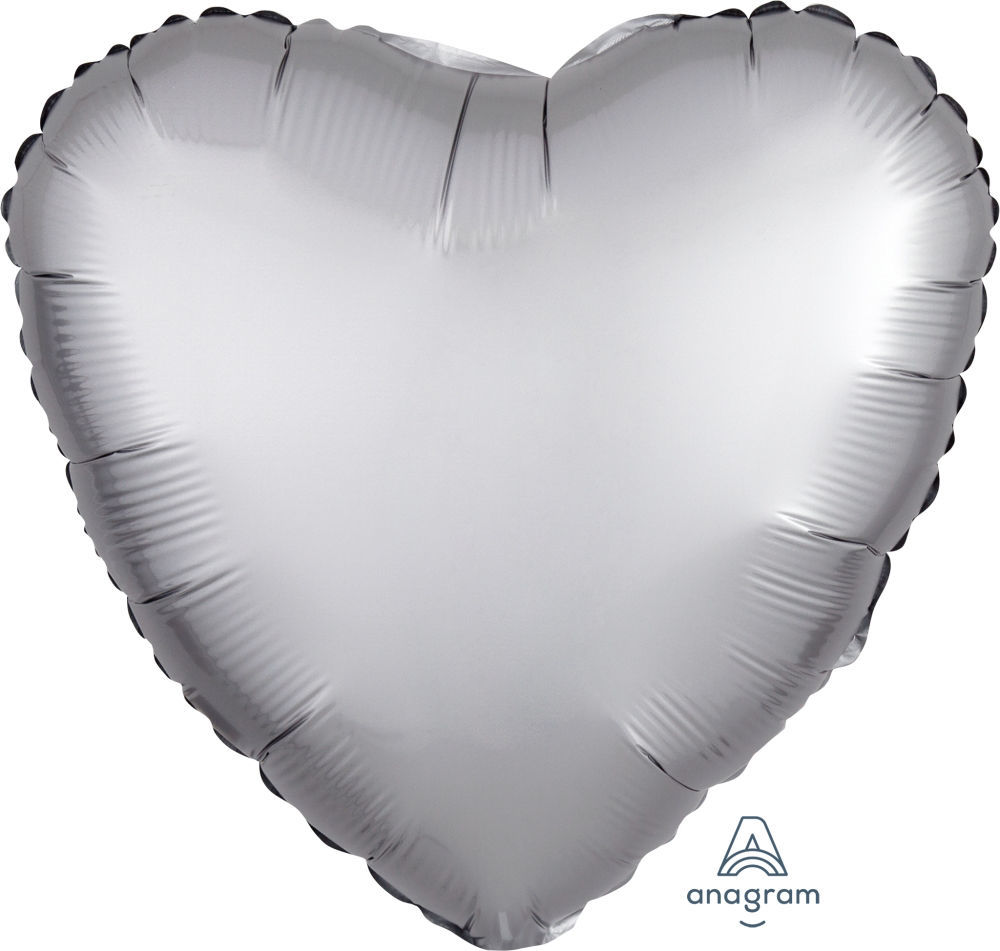 "Picture of 18"" Satin Luxe Platinum Heart Foil Balloon (helium-filled)"