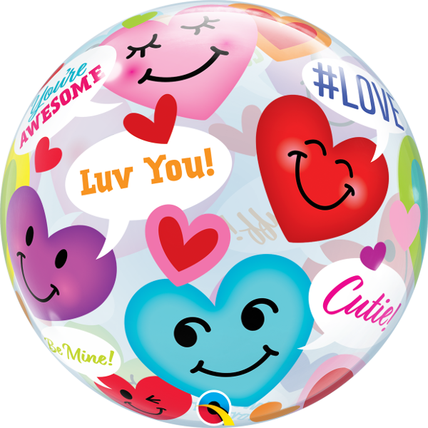 Picture of 22″ Valentine's  Conversation of Smiley Hearts - Single Bubble  Balloon (helium-filled)