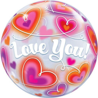 Picture of 22″  Love You Doodle Hearts - Single Bubble Balloon (helium-filled)