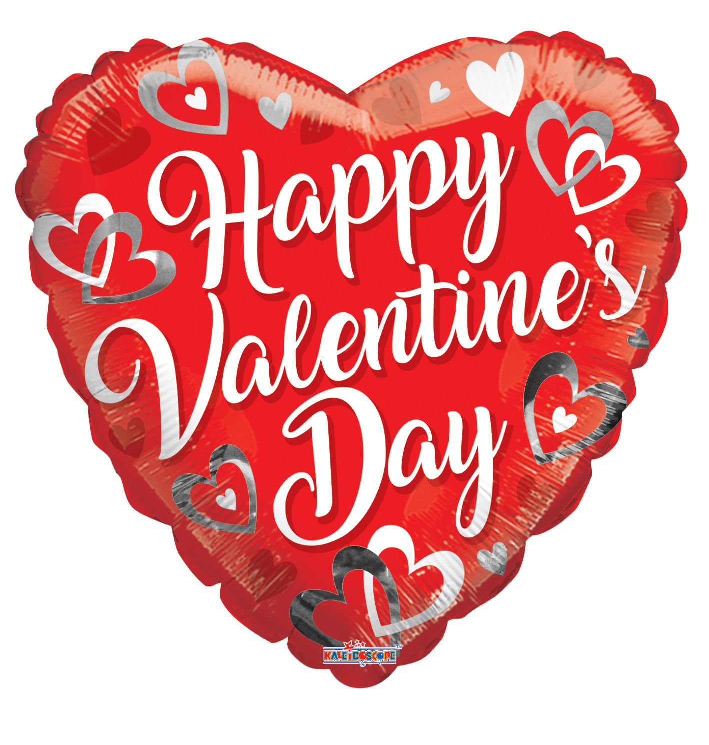 """Picture of 18"""" Happy Valentine's Day with White and Silver Hearts - Foil Balloon  (helium-filled)"""