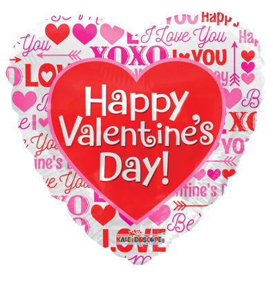 """Picture of 18"""" Happy Valentine's Day. Love Messages - Foil Balloon  (helium-filled)"""