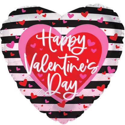 """Picture of 18"""" Happy Valentine's Day with Stripy Heart Foil Balloon  (helium-filled)"""