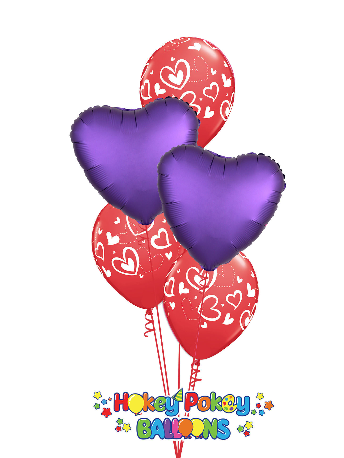 Picture of Mix & Match Red Hearts  Valentine's Balloon Bouquet of 5