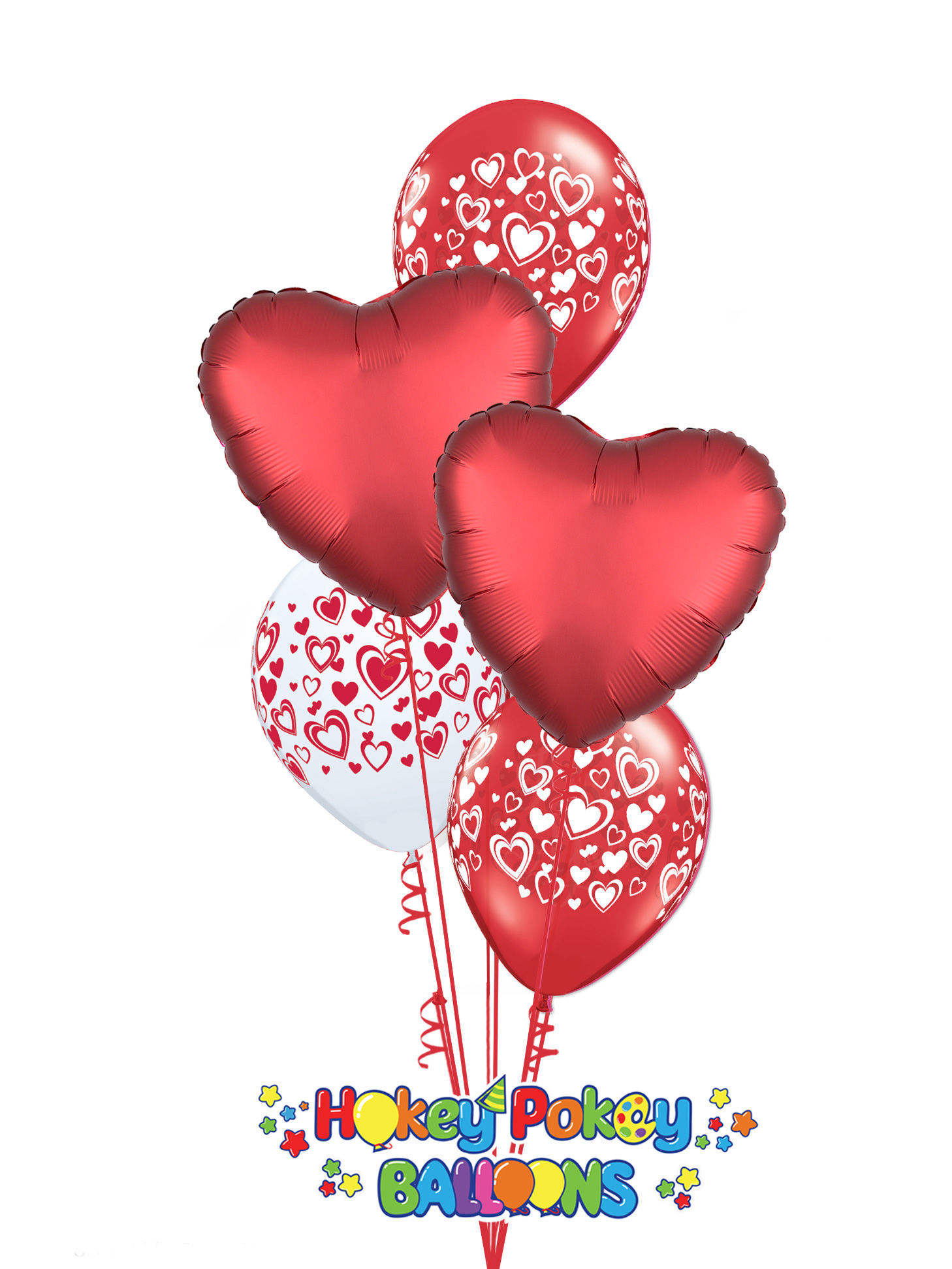 Picture of Double Hearts Valentine's Balloon Bouquet of 5