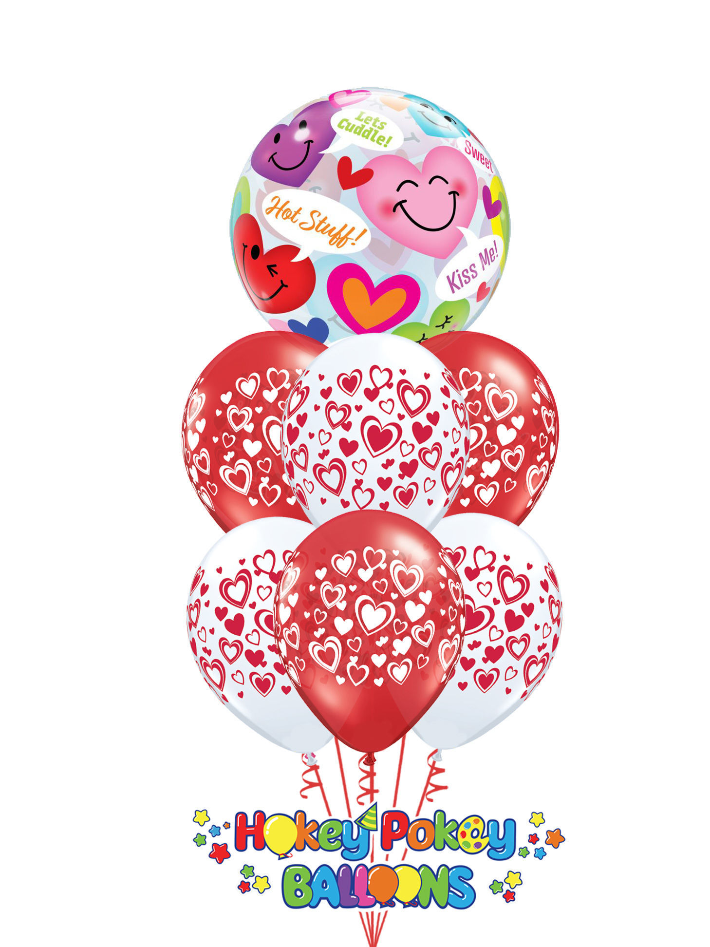 Picture of Double Hearts with Topper Balloon Bouquet of 7
