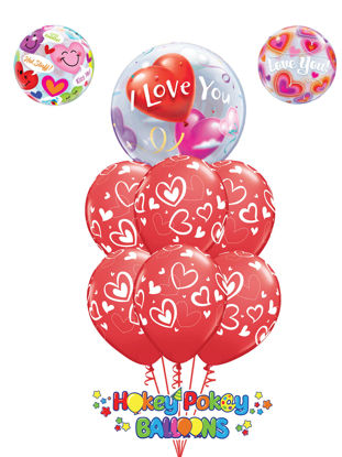 Picture of Mix & Match Red Hearts with Topper Balloon Bouquet of 7