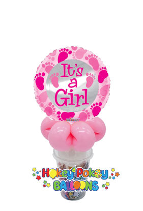 Picture of It's a Girl - Baby Pink Foot Prints - Balloon Candy Cup