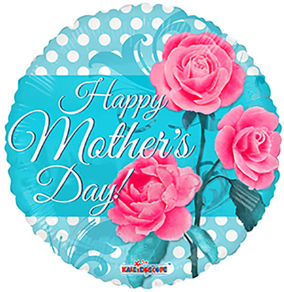 """Picture of 18"""" Happy Mother's Day 3 Roses  - Foil Balloon  (helium-filled)"""