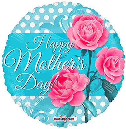 "Picture of 18"" Happy Mother's Day 3 Roses  - Foil Balloon  (helium-filled)"