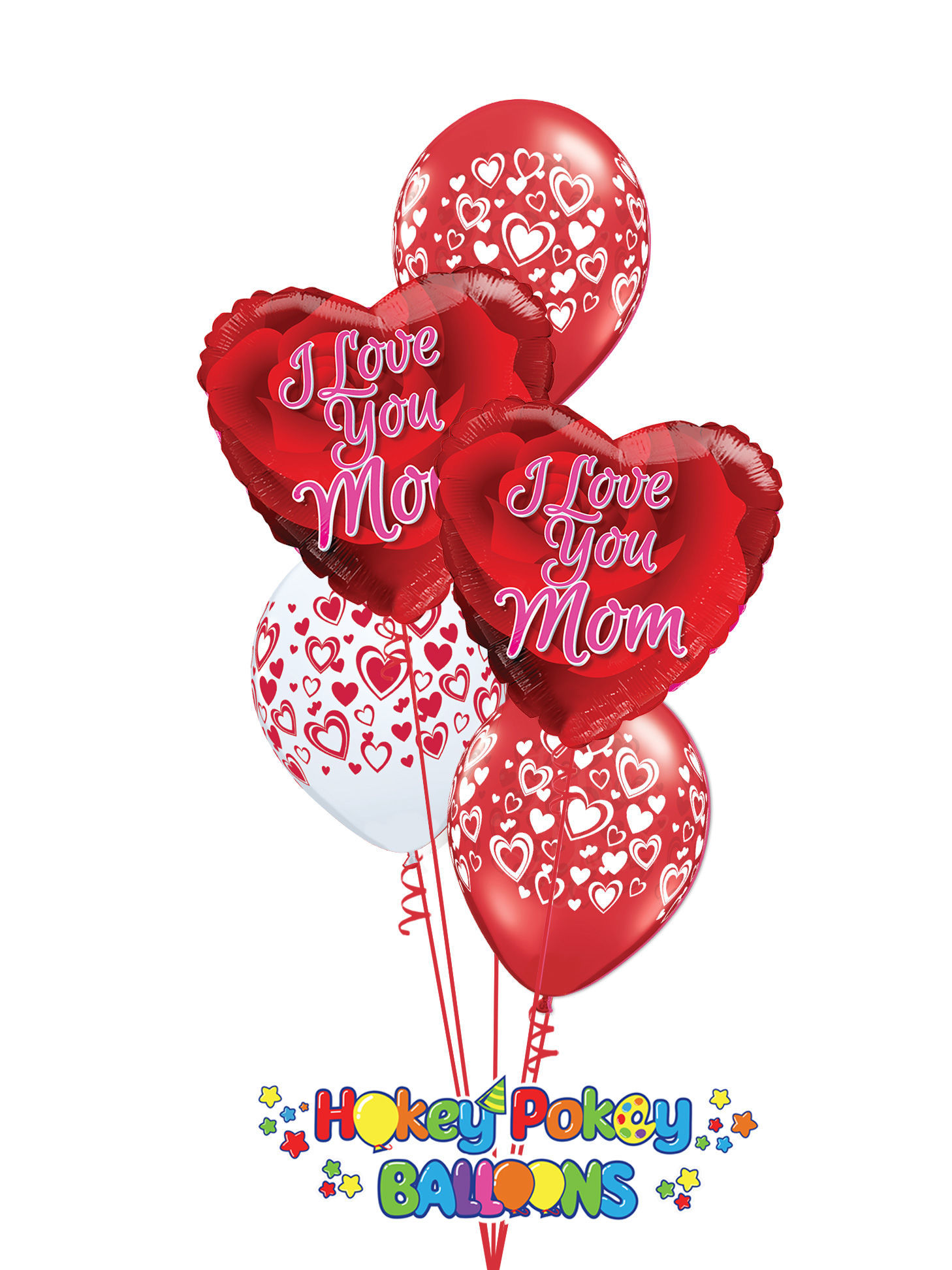Picture of Double Hearts - Mother's Day Balloon Bouquet of 5