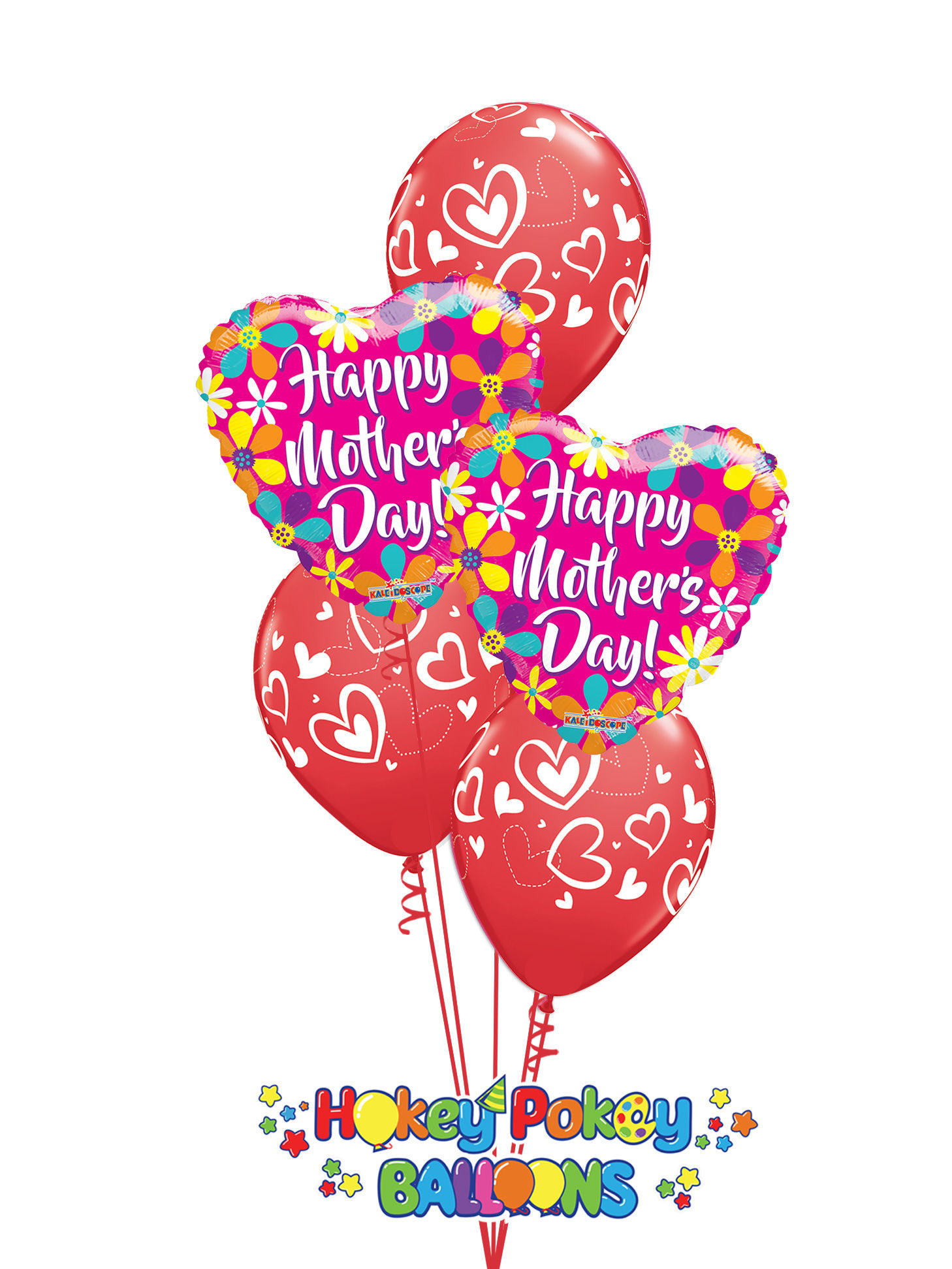 Picture of Mix & Match Red Hearts Mother's Day Balloon Bouquet of 5