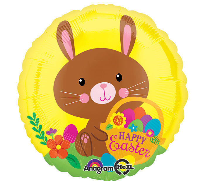 """Picture of 18"""" Happy Easter Chocolate Bunny - Foil Balloon  (helium-filled)"""