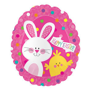 """Picture of 20"""" Happy Easter Bunny & Chick - Foil Balloon  (helium-filled)"""