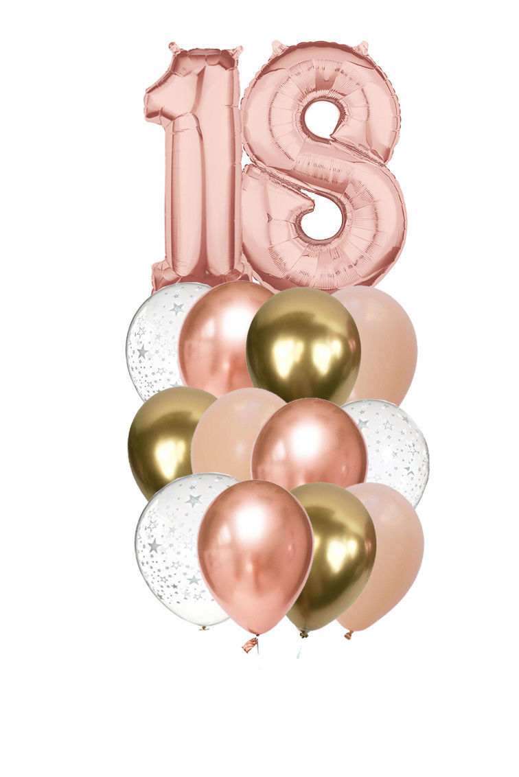 Picture of 11 Inch Helium Balloon Bouquet of 12  with 2 foil Numbers